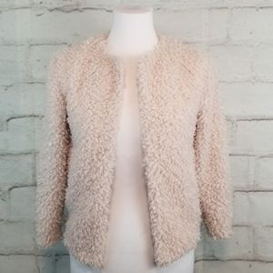 H&M S 2 Blush Pink Open-Front Teddy Bear Cardigan